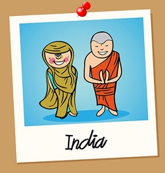 India travel polaroid people vector image vector image