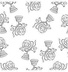 Lion circus hand draw pattern style vector