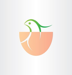 little bird birth in egg icon vector image