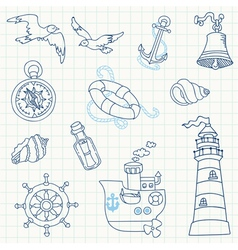 Nautical Sea Design Elements vector image vector image