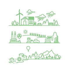 Outline eco city future ecological green vector