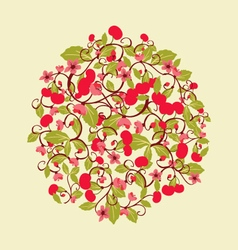 Pattern with cherries and blossom round shape vector