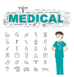 physician with medical icons set on white vector image