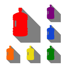 Plastic bottle silhouette sign set of red orange vector