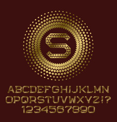 rhombuses patterned gold letters and numbers with vector image