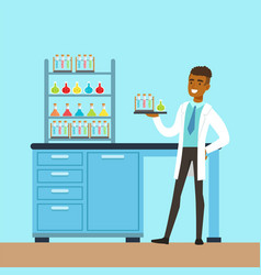 Scientist man conducting research in a lab vector
