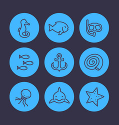 Sea line icons set shark fish shell medusa vector
