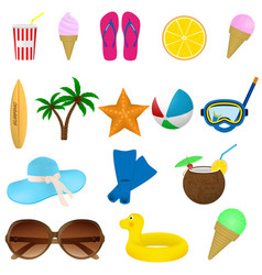 Set of summer beach items diving surfing and vector
