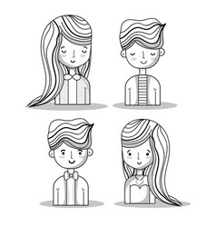 Set women and men with hairstyle design vector