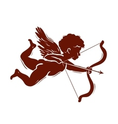 Silhouette of a cupid shooting arrow vector