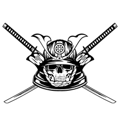 skull in samurai helmet and crossed katanas vector image