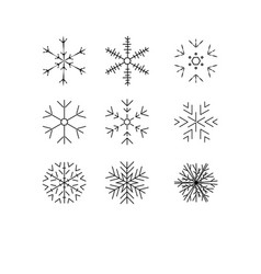 snowflake winter set of black isolated nine icon vector image vector image