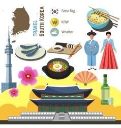 South Korea culture symbol set Travel Seoul vector image vector image