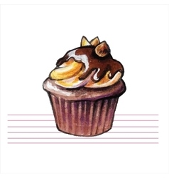 Watercolor cupcakes Hand drawn retro style vector image