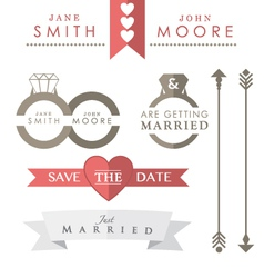 Wedding icons and accessories vector