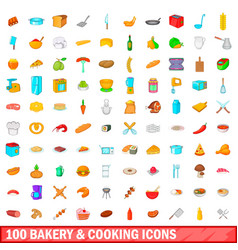 100 bakery and cooking icons set cartoon style vector