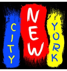 T shirt typography graphics new york brush stroke vector