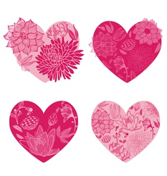 Set of flower hearts vector