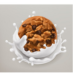 Chocolate cookies and milk splash realistic 3d vector
