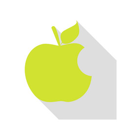 Bite apple sign pear icon with flat style shadow vector