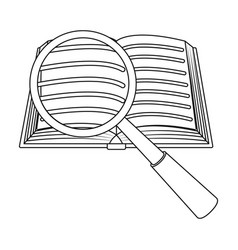 seraching of information in the book icon in vector image