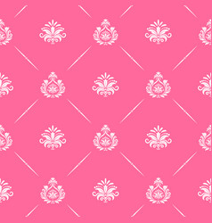 Wallpaper seamless baroque in pink color vector