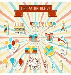 Happy birthday party sticker icons set vector