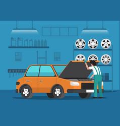 car mechanic fixing car in auto repair garage vector image