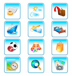 Vacation icons  complex series vector