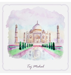 Watercolor taj mahal picture greeting card vector