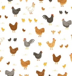 Chickens and chicks seamless pattern vector