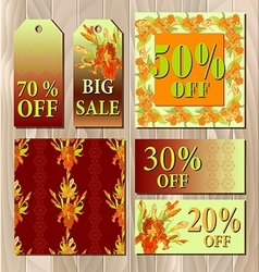 Big sale printable card template with red iris vector