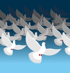Flock of doves into sky blue cloud and white vector