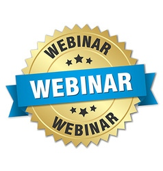 Webinar 3d gold badge with blue ribbon vector