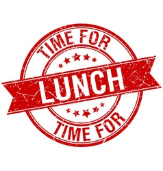 Time for lunch grunge retro red isolated ribbon vector