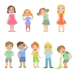 Kids with maladies set vector