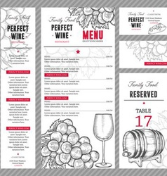 Wine menu set vector