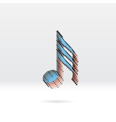 Transparent music note with dotted scheme vector