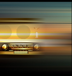 Abstract grunge background with retro radio vector