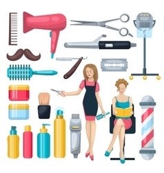 Beauty salon elements set vector