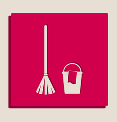 Broom and bucket sign grayscale version vector
