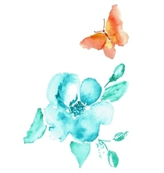 Butterfly and flower watercolor drawing vector image vector image