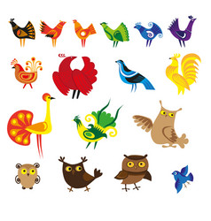 Cartoon bird set vector