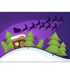 Christmas greeting card with Santa house Flying vector image vector image