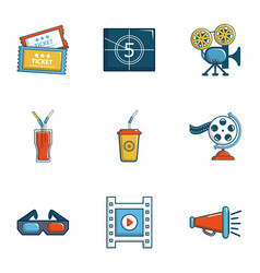 Cinema theater icons set cartoon style vector