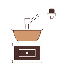 Coffee grinding with crank silhouette color vector