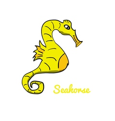 Cute cartoon seahorse vector