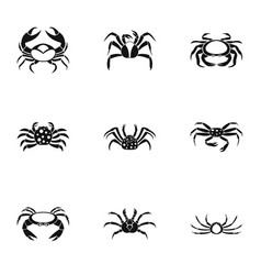 Different crab icons set simple style vector