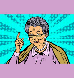 Elderly woman pointing finger up vector