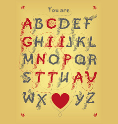 Encrypted romantic message - you are captivating vector